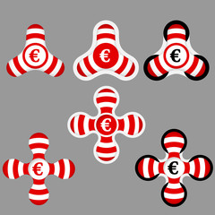 abstract red and white icons and euro symbol