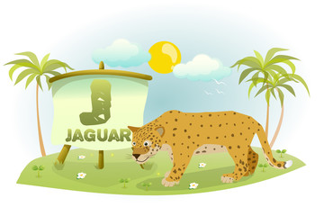 Funny Cartoon Alphabet J With Jaguar