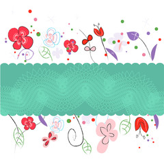 Floral spring greeting card vector with flowers illustration