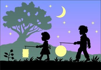 Kinder laufen mit Laternen vor Abendhimmel in Farbe