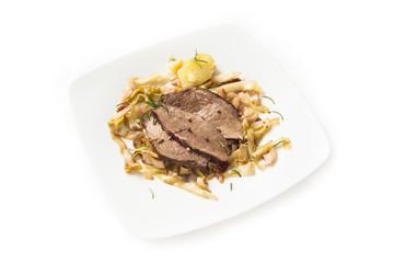 Roast beef with vegetable garnish