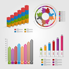 Set colorful business chart for infographic and reports.
