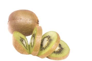 juicy slices of whole and sliced kiwi