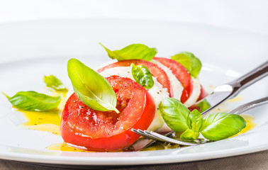 Mozzarella and tomatoes, caprese salad.