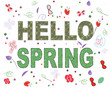Hello spring floral greeting card with decorative flowers vector