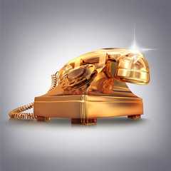 Golden phone on grey background.