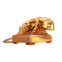 Golden phone on white isolated background.