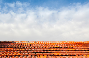 Empty photo background with red tile roof and sky