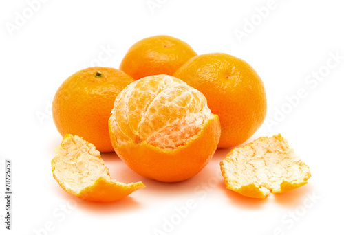 tangerine or mandarin fruit isolated on white background - 78725757
