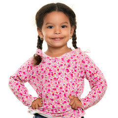 Pretty mixed race small girl isolated on white