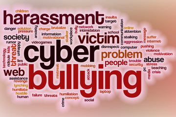 Cyberbullying word cloud with abstract background