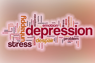 Depression word cloud with abstract background