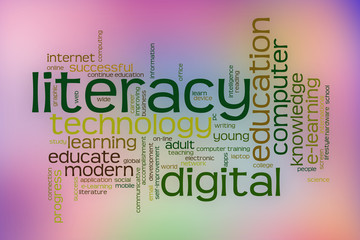 Digital literacy word cloud with abstract background