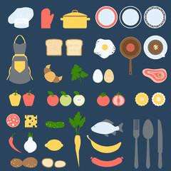 Recipe Card and Cook Book Design Set, Flat Vector Illustration