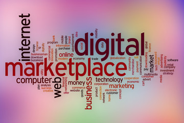 Digital marketplace word cloud with abstract background
