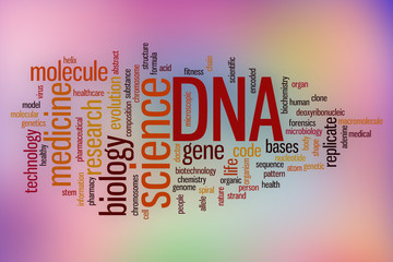 DNA word cloud with abstract background