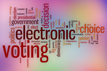 Electronic voting word cloud with abstract background