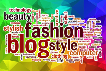 Fashion blog word cloud with abstract background