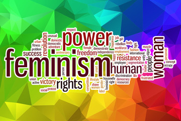 Feminism word cloud with abstract background