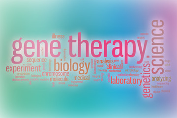 Gene therapy word cloud with abstract background
