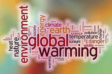 Global warming word cloud with abstract background