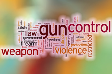 Gun control word cloud concept with abstract background