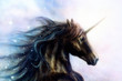 Horse, black unicorn in space, illustration abstract color backg - 78726776