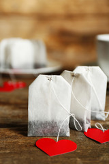 Heart shaped teabag tags and Cup of tea with