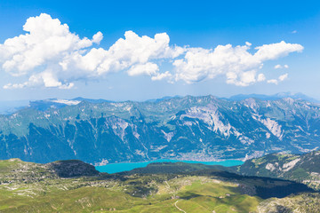 Panorama view of Brienz Lake and Alps