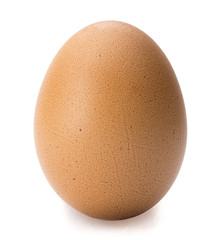 Brown egg isolated on white background.