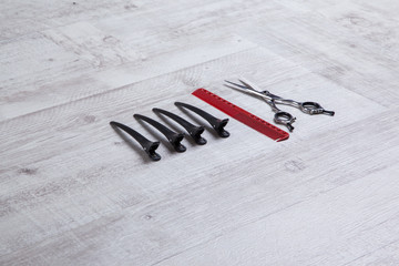 professional barber scissors, tools for cutting, shot with depth