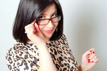 Beautiful smiling woman wearing glasses.