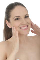 Beautiful Young Woman Applying Face Cream