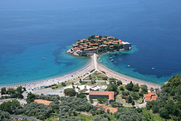 Aerial view of the island Sveti Stefan, Montenegro.