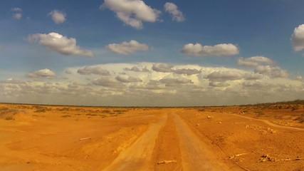 Desert Car Trip seen from the car in Colombia desert, La guajira