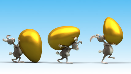 Cartoon Easter rabbits with giant golden eggs.