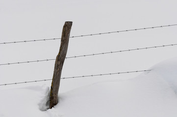 Stake and wire fence in a field covered by the snow
