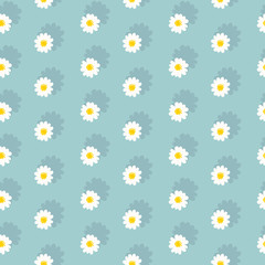 White daisies seamless pattern on a blue background