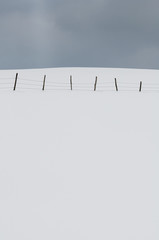 Field covered by the snow and cloudy sky