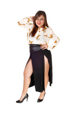 Woman in nice skirt.