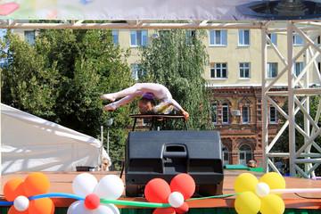 Samara, Russia - August 24, 2014: an unknown girl gymnast perfor