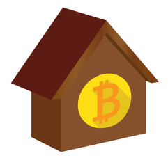 House icon with Bitcoin on it