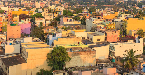 Bangalore City skyline in resident zone when sunset, India