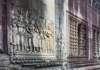 wall statue of God inside the Angkor Wat Temple