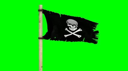 Waving pirate flag Jolly Roger on green screen