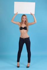 woman holding empty board