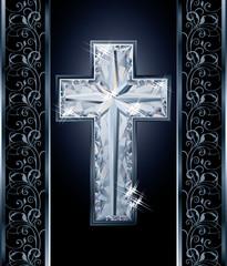 Diamonds Christian cross cover design, vector illustration