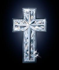 Diamonds Christian cross, vector illustration