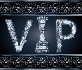 Diamond VIP chess present card, vector illustration