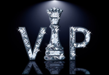 Diamonds VIP chess card , vector illustration